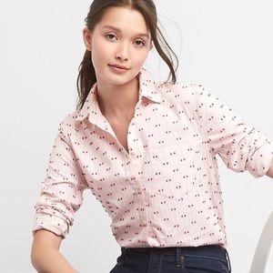 GAP Fitted Boyfriend Pink Stripe Shirt